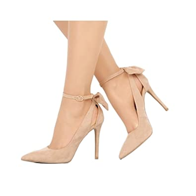 6045b701283 Fashare Womens High Heels Pointed Toe Bowtie Back Ankle Buckle Strap  Wedding Evening Party Dress Pumps Shoes