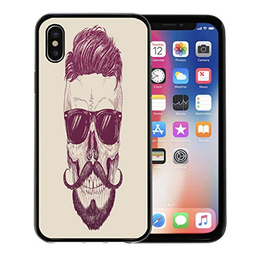 Semtomn Phone Case for Apple iPhone Xs case,Barber Hipster Skull Sunglasses Hair and Mustache Tattoo Beard Engraved for iPhone X Case,Rubber Border Protective Case,Black]()
