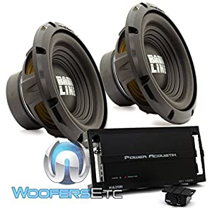 "pkg (2) Alpine SWA-10S4 10"" Single 4-Ohm 250W RMS Bassline Series Subwoofers + Power Acoustik RZ1-1500D Monoblock 1500W Max Class D RAZOR Series Full Range Amplifier"