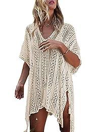 Xugq66 Women's Bohemian Crochet Swim Cover Up Bikini Tunic Beach with Tassels Dress