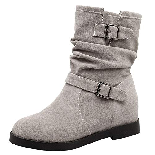 Trim Platform Pump (Tootu Ladies Womens Low Wedge Buckle Biker Ankle Trim Flat Ankle Boots Shoes)