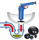 Toilet Drain Pipes Sinks High Pressure Multi Air Pump Plunger Drain Blaster Pipe Dredge Tools Toilets Air Power Cleaner Unclogs Suitable for Toilets, Bathtubs, Showers(Blue)