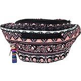 Native Tribal Aztec Party Fanny Pack, Stylish Party Boho Chic Handmade w/Hidden Pocket (Aztec Pink)