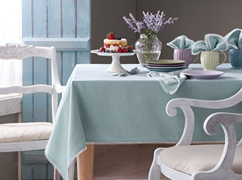 "Lenox French Perle Solid 60""x84"" rectangle Tablecloth, Ice Blue"