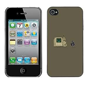 FECELL CITY // Duro Aluminio Pegatina PC Caso decorativo Funda Carcasa de Protección para Apple Iphone 4 / 4S // Gray Computer It Nerd Tech Vintage