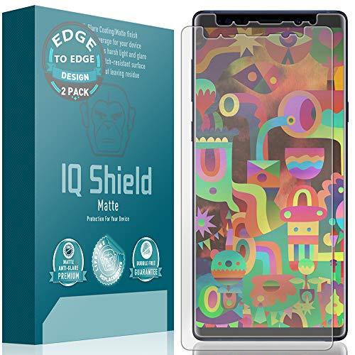 Galaxy Note 9 Screen Protector, IQ Shield Matte Full Coverage Anti-Glare Screen Protector for Galaxy Note 9 [Max Coverage][2-Pack] Bubble-Free Film