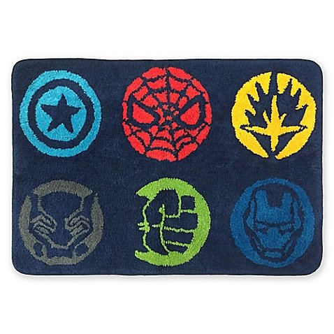 Marvel Comics All New Style Avengers Super Hero 20-Inch x 30-Inch Super Fun Bath Rug Features Captain America, Hulk, Black Panther, Spiderman, Iron Man, Soft Area RUG non Slip - Rug Bath For Boys