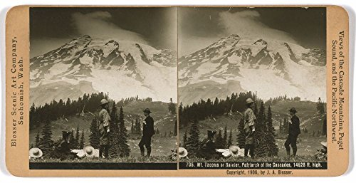 (1906 Photo Mt. Tacoma or Rainier, Patriarch of the Cascades, 14,528 ft. high Mt. Rainier with a man and two women hikers in foreground. Location: Mount, Rainier, Washington)