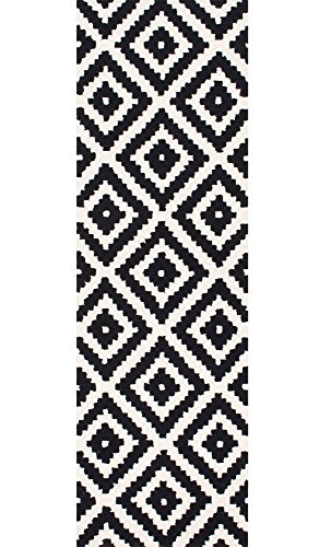 """nuLOOM Kellee Contemporary Wool Runner Rug, 2' 6"""" x 8', Black - Features a geometric design Construction: machine made Material is 100% polypropylene Frisee - runner-rugs, entryway-furniture-decor, entryway-laundry-room - 51ub9 o2TJL -"""