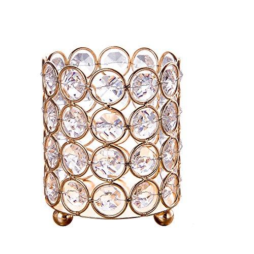 Feyarl Crystal Beads Candle Holder Votive Cylinder Candle Lantern Makeup Brush Holder for Wedding Home Deco (Gold) ()