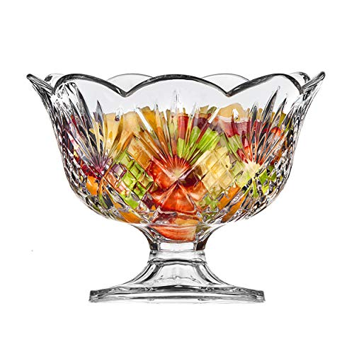 Elegant Large Crystal Serving Bowl, Centerpiece For Home, Office, Wedding Decor, Fruit, Snack, Dessert, Server, Premium Quality Punch Bowl (Centerpiece Footed Bowl)