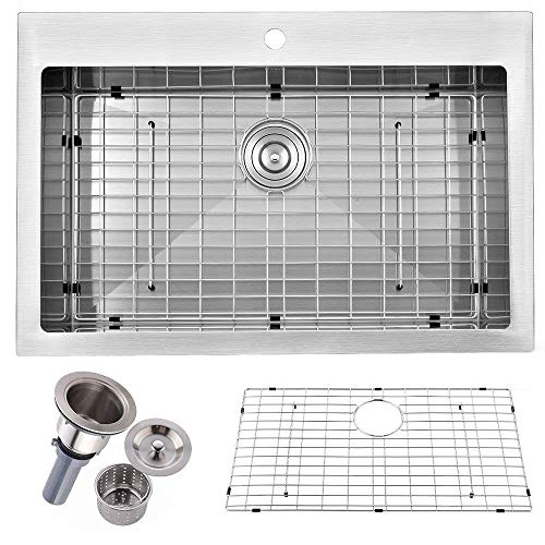(Best Comercial 33''X22'' Topmount Extra-thick Stainless Steel Single Bowl Brushed Nickel Kitchen Sink, With Dish Grid and Basket Strainer)