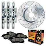 Front + Rear Silver Slotted & Cross Drilled Rotors and Ceramic Pads Brake Kit KT009913 | Fits: 1999 99 2000 00 2001 01 VW Jetta VR6/1.8T Manufactured From 06/99 288mm Dia Front Rotors