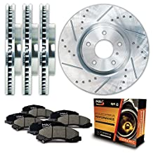 Front + Rear Silver Slotted & Cross Drilled Rotors and Ceramic Pads Brake Kit KT011713 | Fits: 2007 07 Ford F-150 4WD Models w/ 6 Lugs Rotors; Non Heritage or Lightning Models