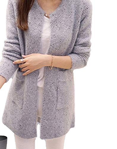 Sky-Pegasus Warm Sweater Autumn Winter Women Casual Long Sleeve Knitted Cardigans 2018 New Crochet Ladies Sweaters,Gray,XL -