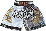 asmanjune Nakarad Kid Muay Thai Boxing Shorts White & Grey Size XS for 5y-6y