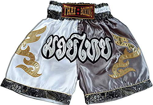 asmanjune Nakarad Kid Muay Thai Boxing Shorts White & Grey Size XS for 5y-6y by asmanjune
