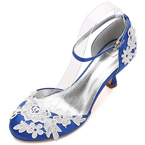 Hebilla Tacón yc Blue Las Toes De Flores Bajo Honor D17061 Boda Satén Zapatos Ramillete 7 Mujeres L Dama Close 6dw7B6