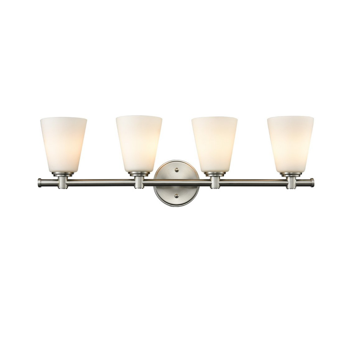 AXILAND 4 Light Vanity Lights Wall Sconce Brushed Nickel with Opal Glass Shade