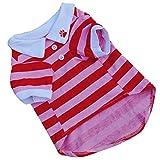 DZT1968(TM) Cute Pet Clothes Dog Puppy T Shirt Clothes Lapel Stripe Cotton (S, Red)