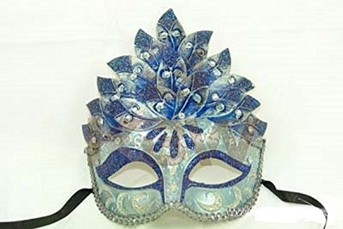 Elegant Womens Venetian Costume Headdress Mask - Blue Accents (Feathered Headdress)