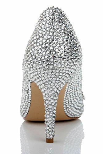 TDA Rhinestones Charming Dress Silver Stiletto Sheepskin Glasses Pumps Women's Platform Party Wedding qRqBr6SW
