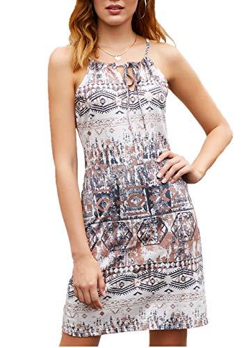 Happy Sailed Women Bohemian Sundress African Print Summer Sleeveless Shift Dress,Large Print 101
