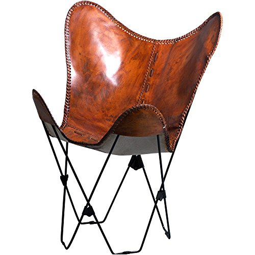 Chair Lounge Seat Leather - COMFYTACK Genuine Leather Butterfly Chair Folding Lounge Modern Sling Accent SEAT