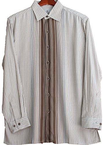 Mens Silk Camp Shirt Button Front Long Sleeve Striped Retro Dress Casual (Small, Nutmeg)
