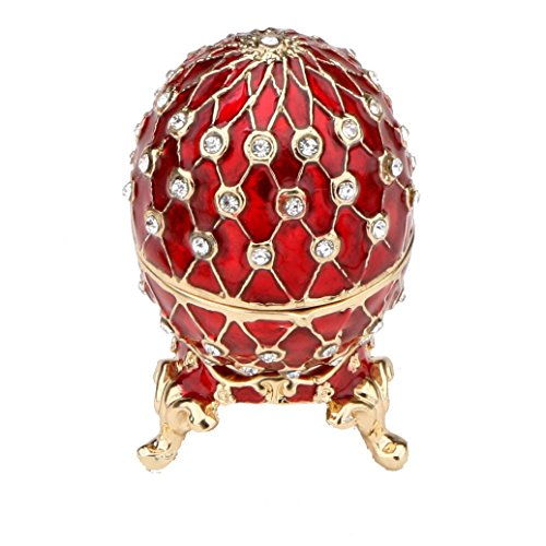Petite RED Faberge Style Egg Box Set with Swarovski Crystals Limited Edition Collectible