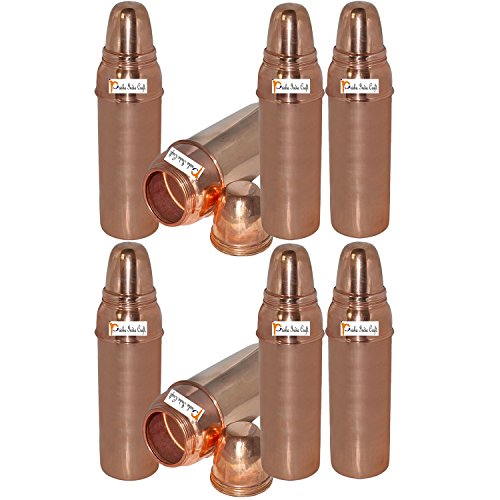 800 ML / 27 oz - Set of 8 - Prisha India Craft ® Pure Copper Water Bottle Pitcher or Thermos Flask for Ayurvedic Health Benefits 100% Genuine Copper Bottles - Indian Water Carafe Christmas Gift Item by Prisha India Craft