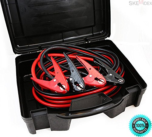 SKEMIDEX---2 Gauge Booster Jumper Cables 25FT Heavy Duty Parrot Jaw Clamps Portable Case And starting system function starting system components starting system parts and functions starting system by SKEMIDEX