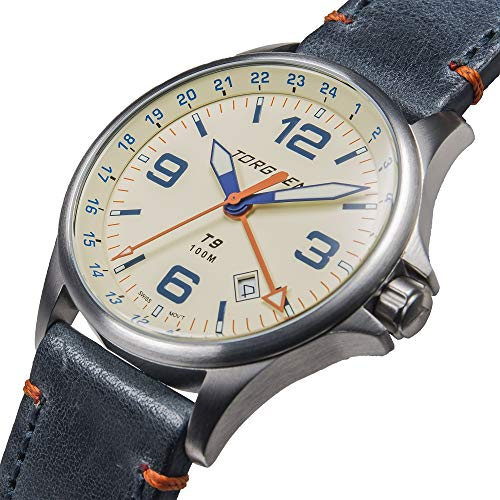 Torgoen T9 Cream GMT Pilot Watch | 42mm - Blue Leather Strap by Torgoen (Image #1)