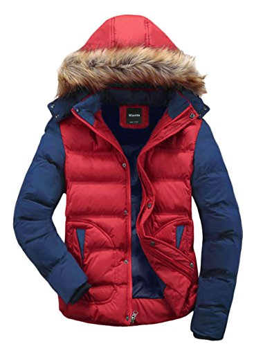 - Wantdo Men's Casual Fur Hooded Outwear Jacket Large Red Red US Large