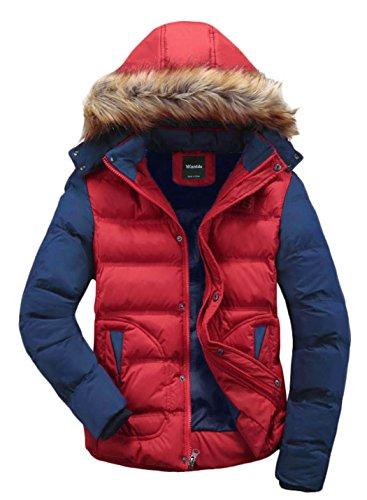 Wantdo Men's Winter Puffer Coat Fur Hood Warm Outwear Jacket Red US X-Large