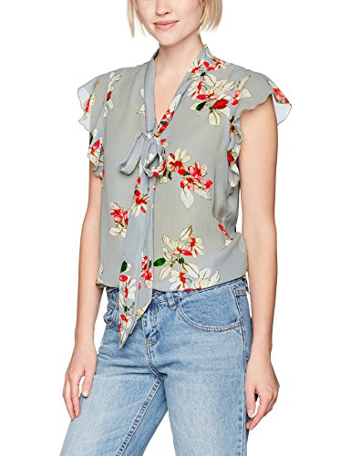 Only Onlsophia Frill Bow Top Wvn, Blusa para Mujer Multicolor (Shadow Aop:flower Print)