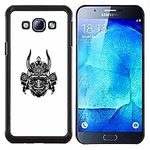 KLONGSHOP // Cubierta de piel con cierre a presión Shell trasero duro de goma Protección Caso - samurai guerrero blanco cuerno miedo japón - Samsung Galaxy A8 A8000 //