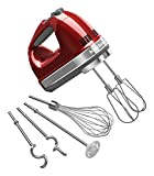 KitchenAid KHM926CA 9-Speed Digital Hand Mixer with Turbo Beater II Accessories and Pro Whisk – Candy Apple Red For Sale