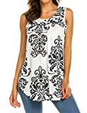 LuckyMore Womens Sleeveless Tunics, Ladies Summer Printed Pleated Front Loose Swing Tank Top Black,M