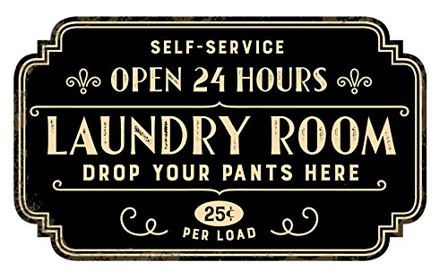 Zazzy Signs Rustic Laundry Room Wall Decor Sign - Vintage Distressed Metal - 17x13 Inch (Metal Sign Decor)
