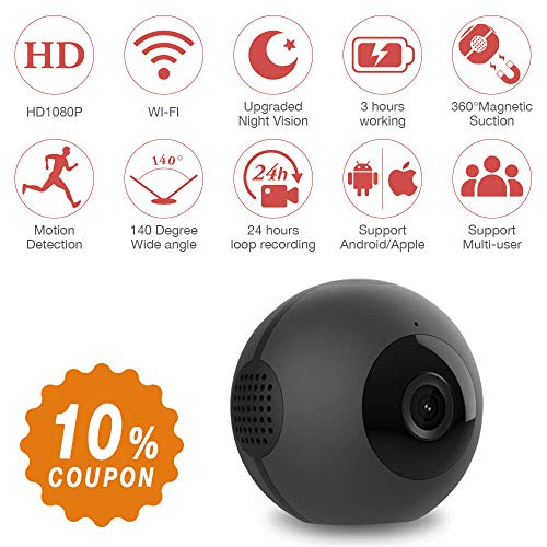 Ball Shape Mini Spy Camera, Mica House 1080P Wireless Portable Camera, Motion Detection/Night Version/Real Time View, Perfect Mini Video Camera for Home and Office Dash Camera (16GB Included)