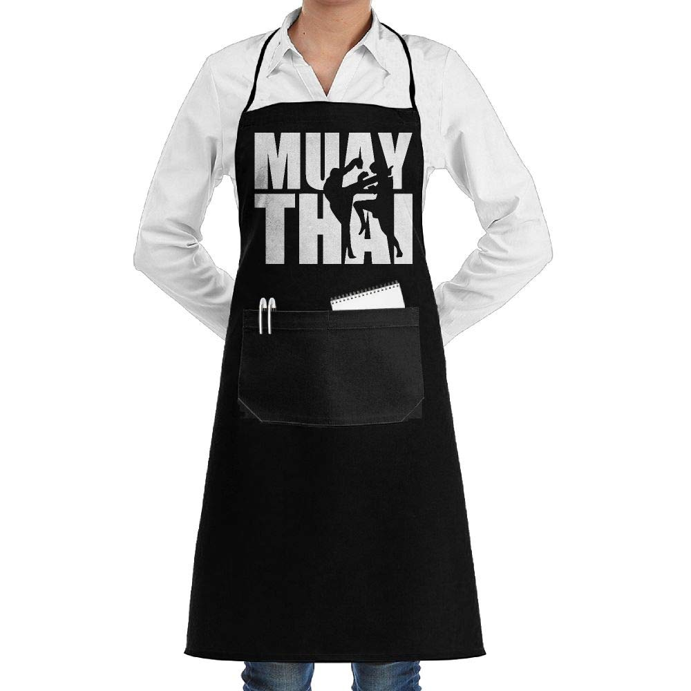 ShoppingNowDear Unisex Long Aprons Muay Thai Word Baking Sleeveless Anti-Fouling Overalls Portable Pocket Design