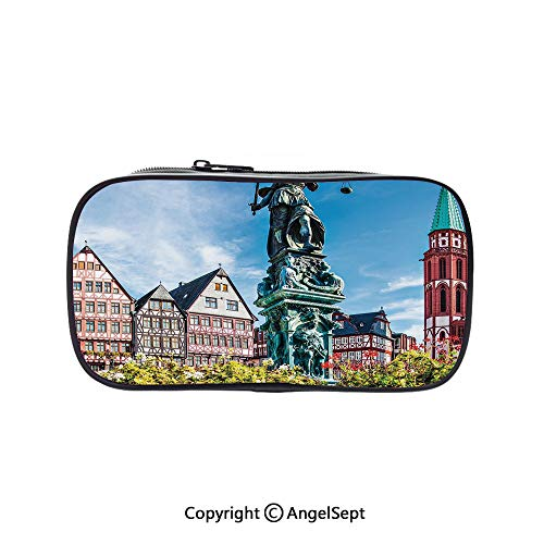 Pencil Holder with Handle Strap Handy Colored,Old City of Frankfurt Germany with Historical Buildings Cityscape Scenery Decorative Multicolor 5.1inches,Large Capacity Students Stationery