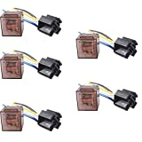ESUPPORT Car Relay 12v 80a Spst 4pin Socket Pack of 5