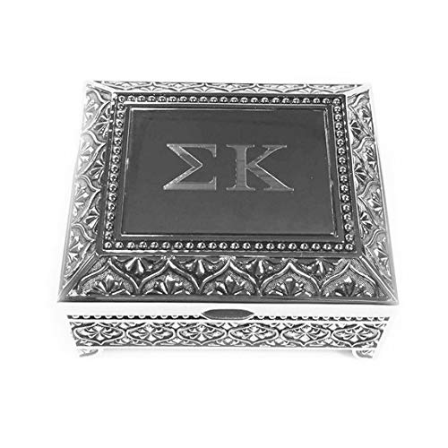 Desert Cactus Sigma Kappa Engraved Pin Box Sorority Greek Decorative Trinket Case Great for Rings, Badges, Jewelry Etc. AXO (Vintage Footed Pin Box)