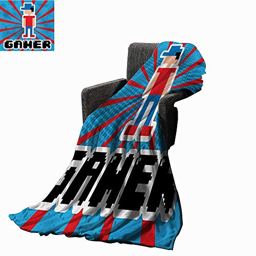 Video Games Super Soft Lightweight Blanket Blue and Red Striped Boom Beams Retro 90s Toys Boy with Cap,Super Soft and Comfortable,Suitable for Sofas,Chairs,beds