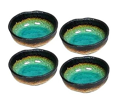 Happy Sales HSF546/M4, set of Four Turquoise Green Kosui Japanese 5 Inch Rice Bowls