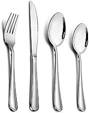 24 Piece Cutlery Set, TeamFar Stainless Steel Flatware Silverware Set with Knife Spoon Fork, Service for 6, Mirror Polish & Dishwasher Safe