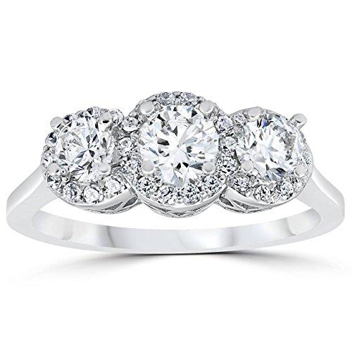 1ct Pave Halo Three Stone Diamond Ring 14K White (3 Stone Pave Diamond)