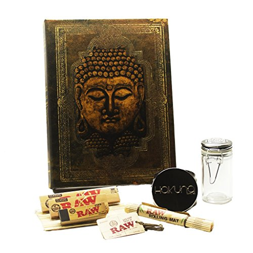 Zen-Buddha-Book-Stash-Box-Raw-Accessories-Bundle-8-Pc-Smoking-Bundle